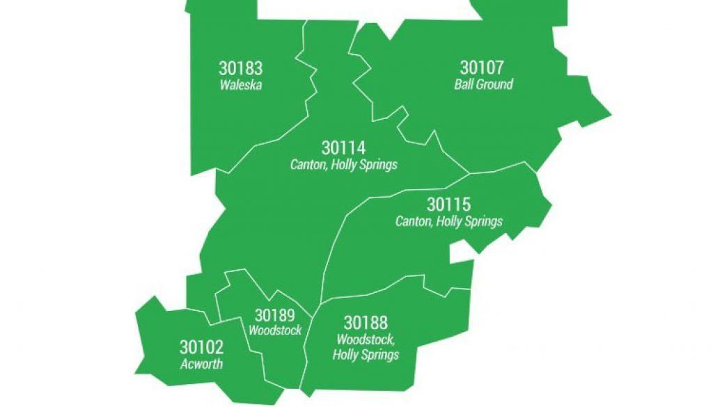 Cherokee County ZIP Code Areas