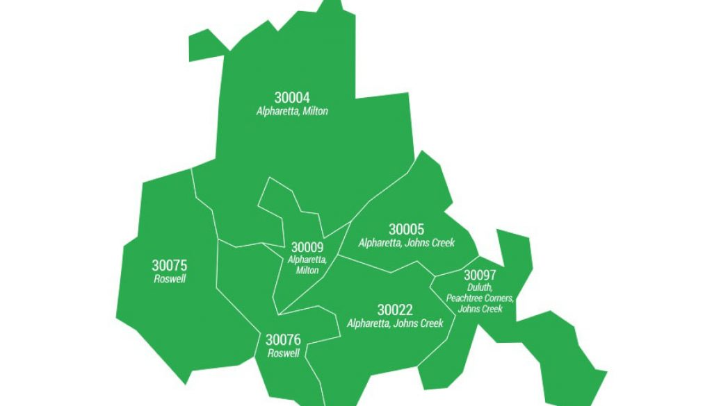 North Fulton County ZIP Code areas